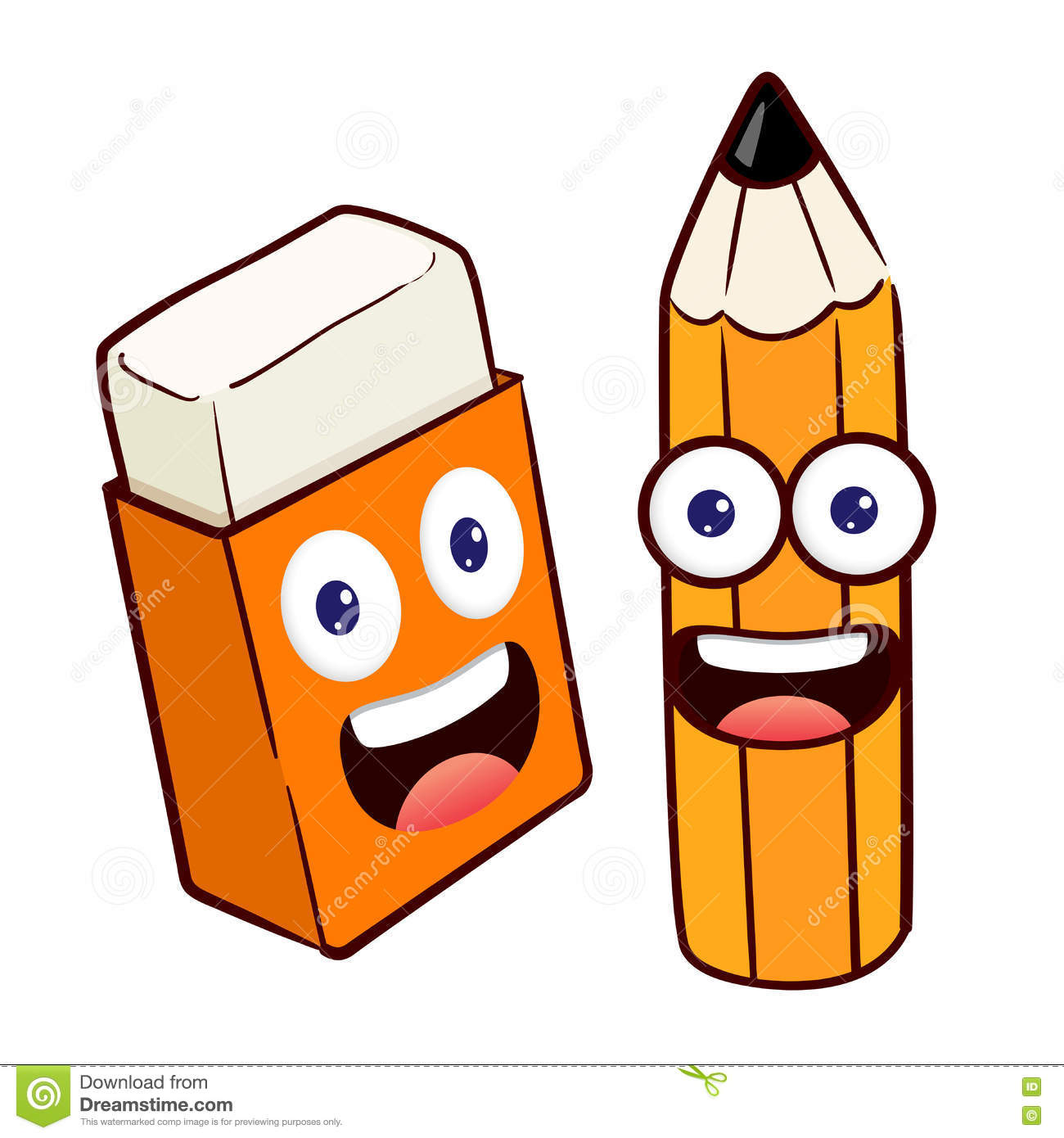 Pencil And Eraser Cartoon Character Stock Vector - Image: 71742603