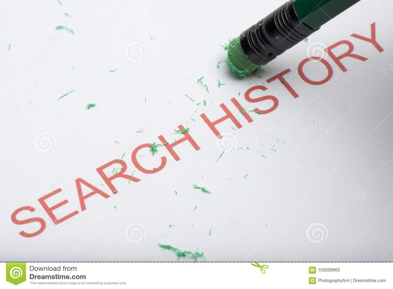Pencil Erasing the Word `Search History` on Paper