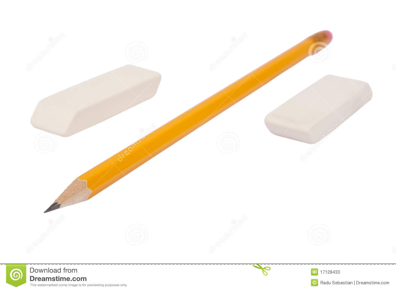 One pencil and two erasers isolated on white background.