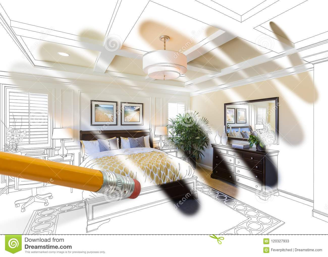 Pencil Erasing Drawing To Reveal Finished Custom Bedroom Design