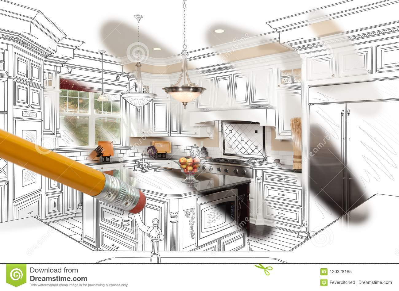 Pencil Erasing Drawing To Reveal Finished Custom Kitchen Design