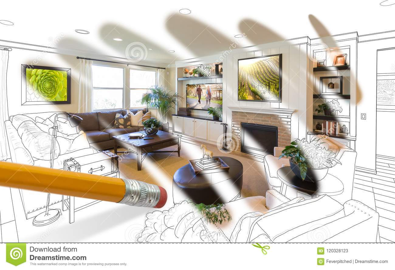 Pencil Erasing Drawing To Reveal Finished Custom Living Room