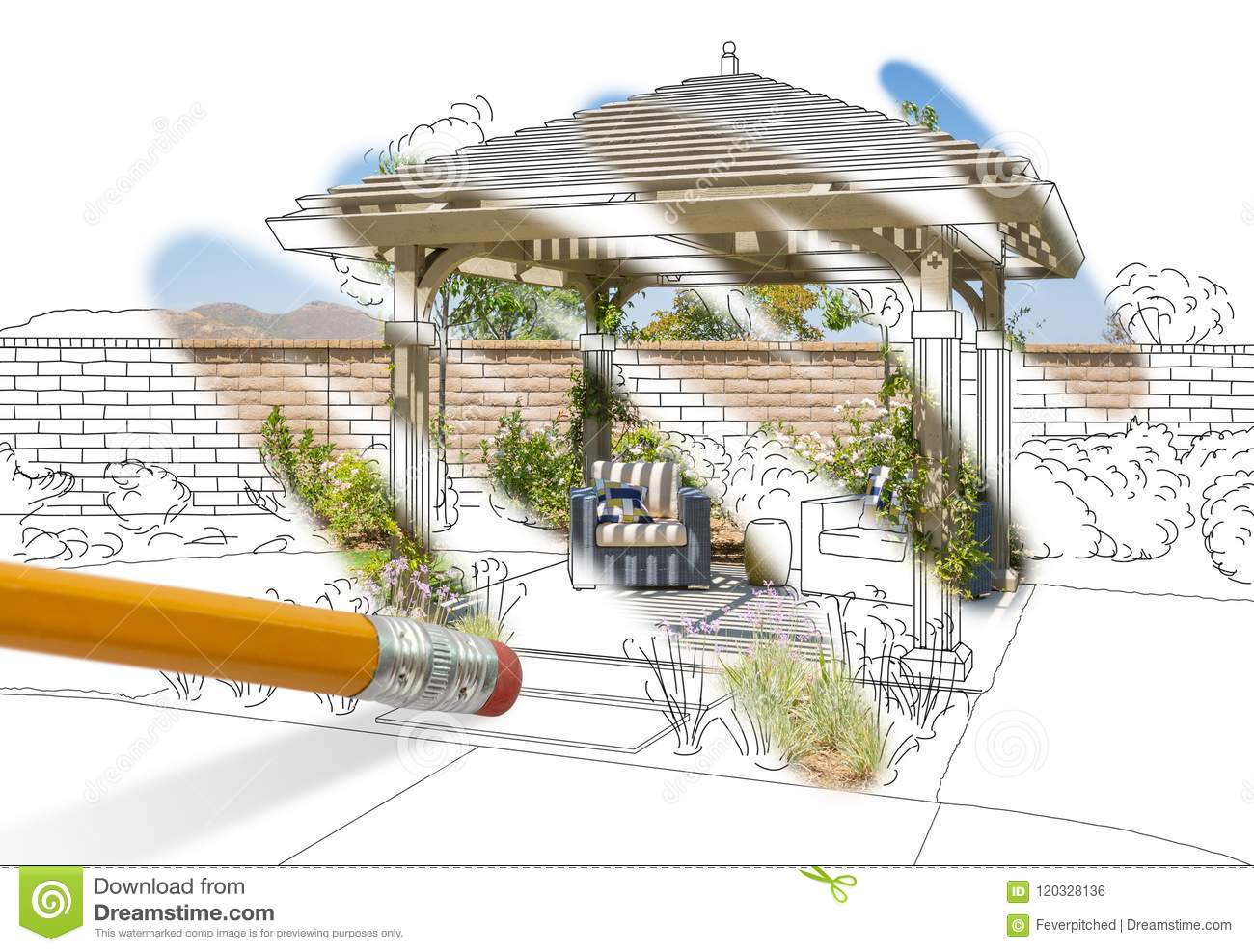 Pencil Erasing Drawing To Reveal Finished Pergola Patio Cover