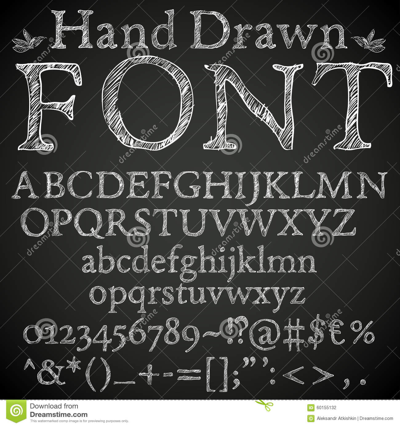 Hand drawn pencil or chalk sketched font letters numbers and symbls vector