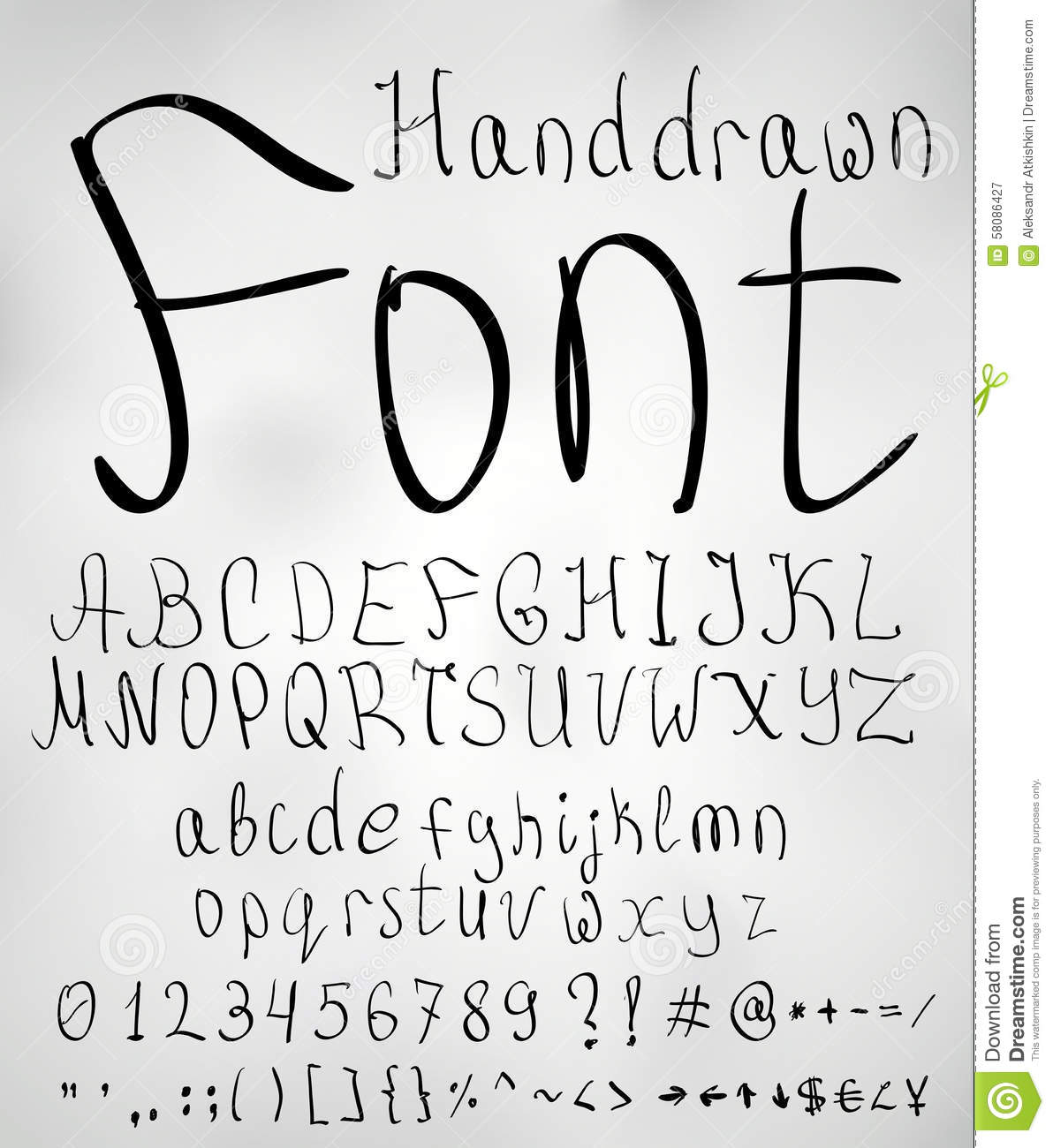 Hand drawn pencil sketched font letters numbers and symbols vector