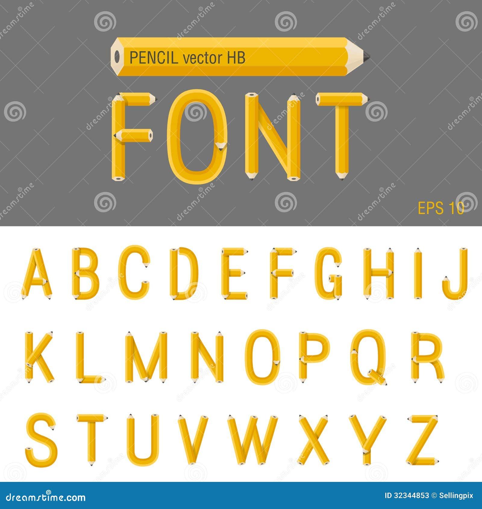Pencil Font Vector  Creative Type Design  Educatio Stock