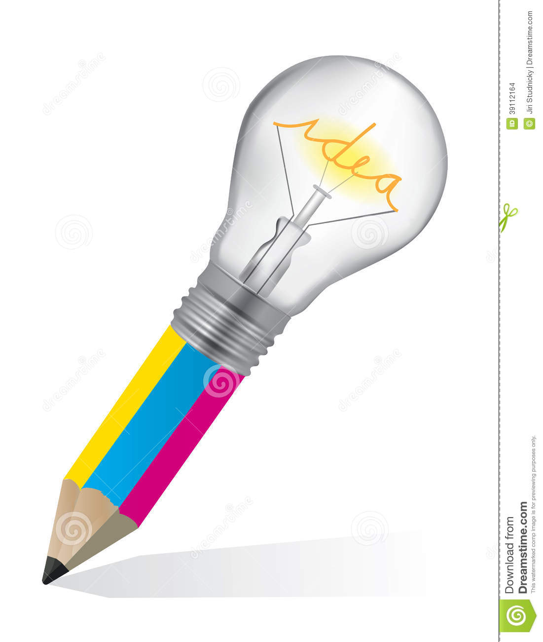 colorful pencil with light bulb symbolizing creativity vector