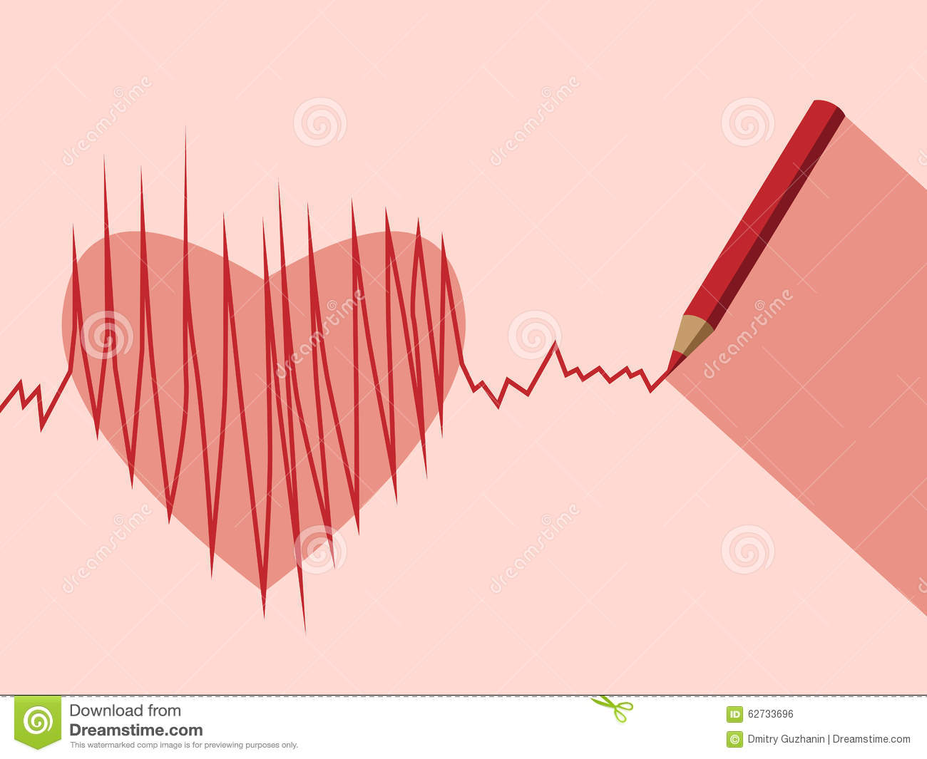 Stock Illustration Pencil Heart Ecg Drawing Eps Vector No