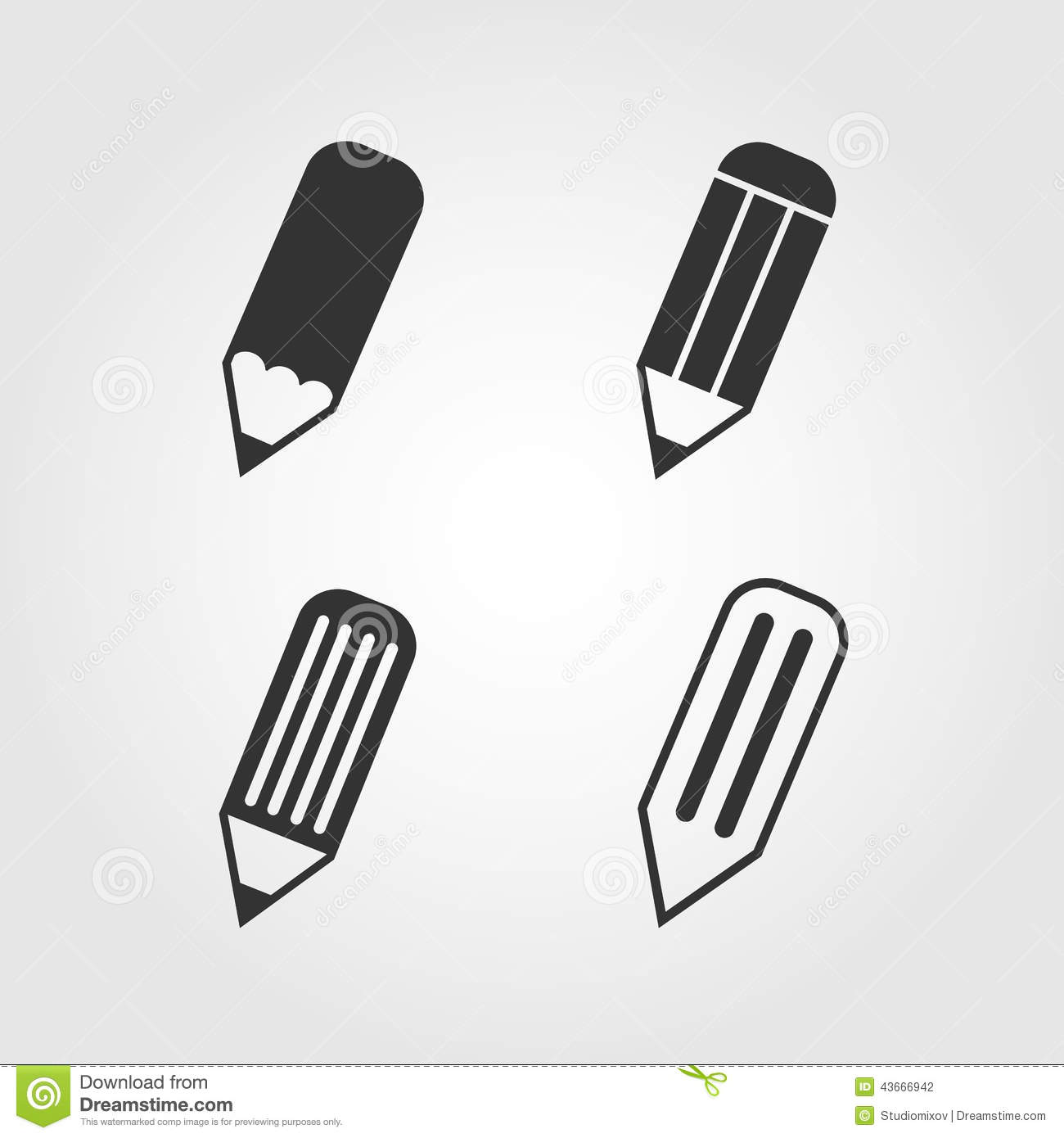 Pencil Icons Set, Flat Design Stock Vector - Image: 43666942
