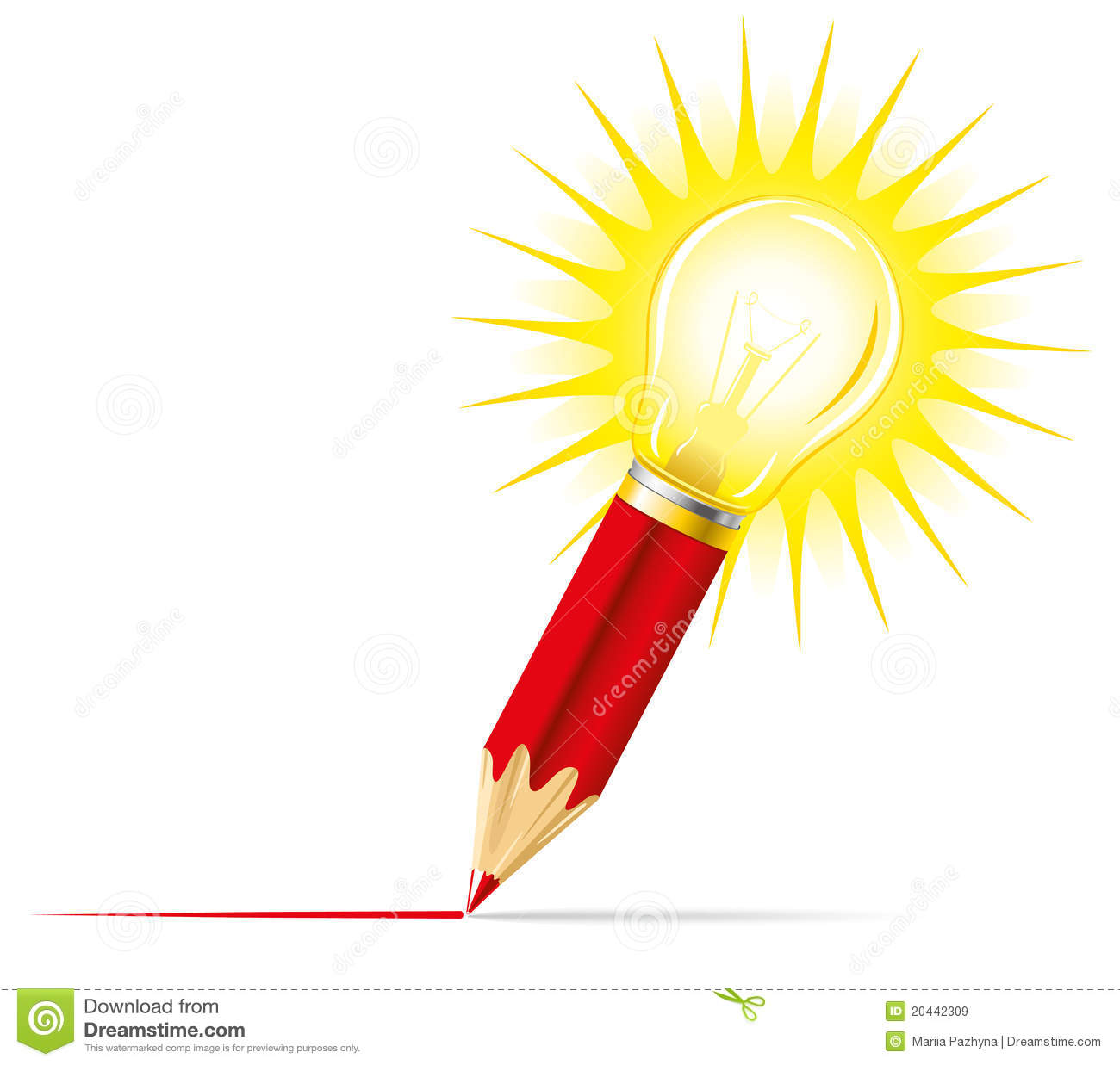 Pencil And Light Bulb Stock Vector Image Of Attention