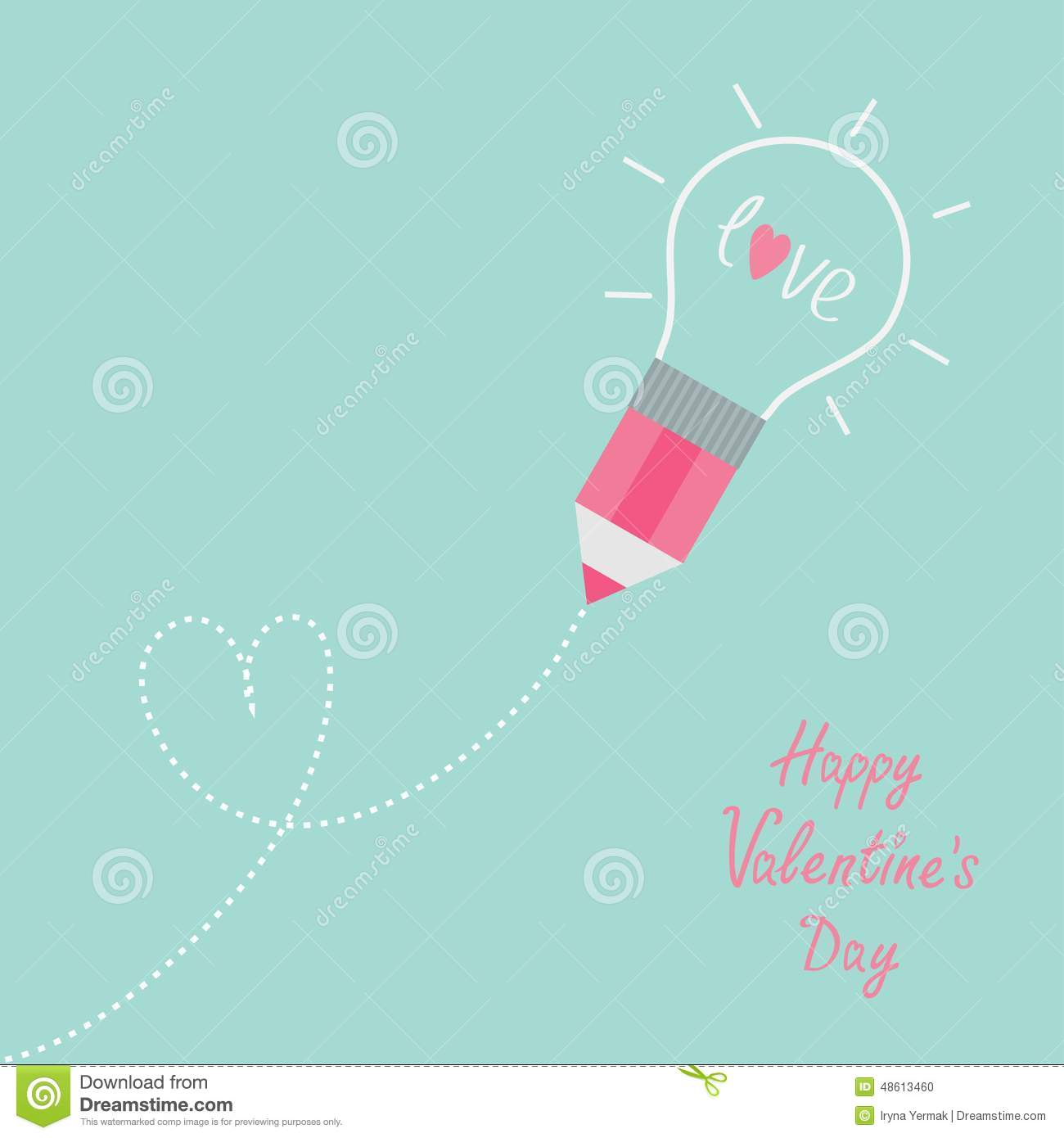 Pencil with light bulb and word love dash line heart for Lampadina stilizzata