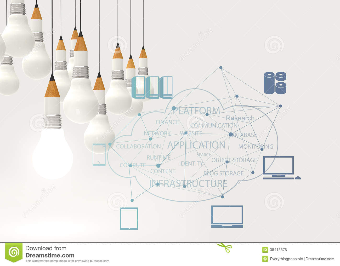 Pencil Lightbulb 3d And Cloud Network Diagram Royalty Free Stock ...