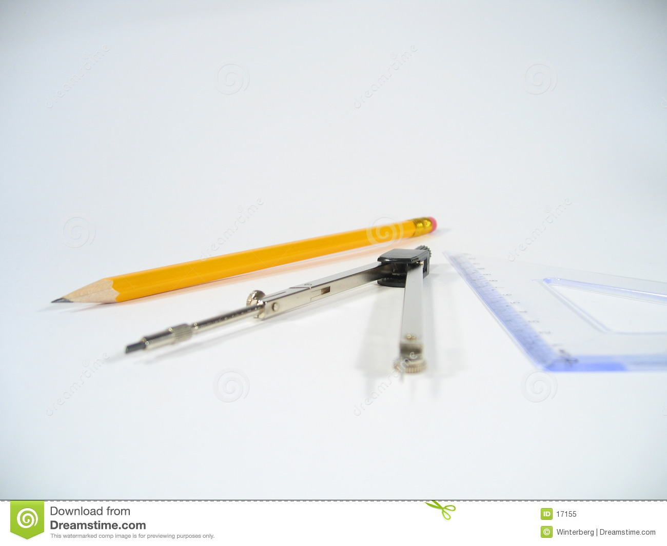 Pencil, Pair of Compasses and Set Square
