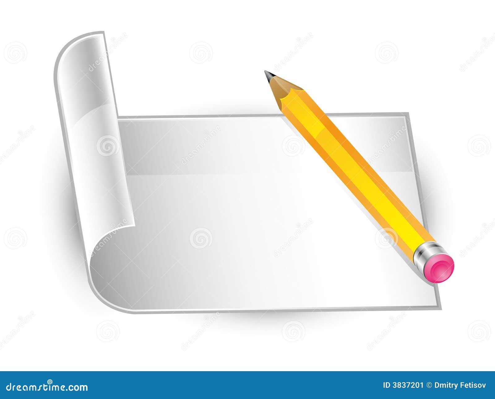 Pencil Paper Icon Pencil and paper
