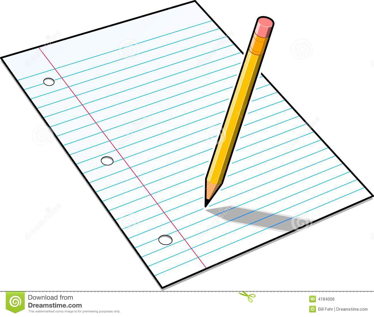 Pencil And Paper  Lined Paper With Drawing Box