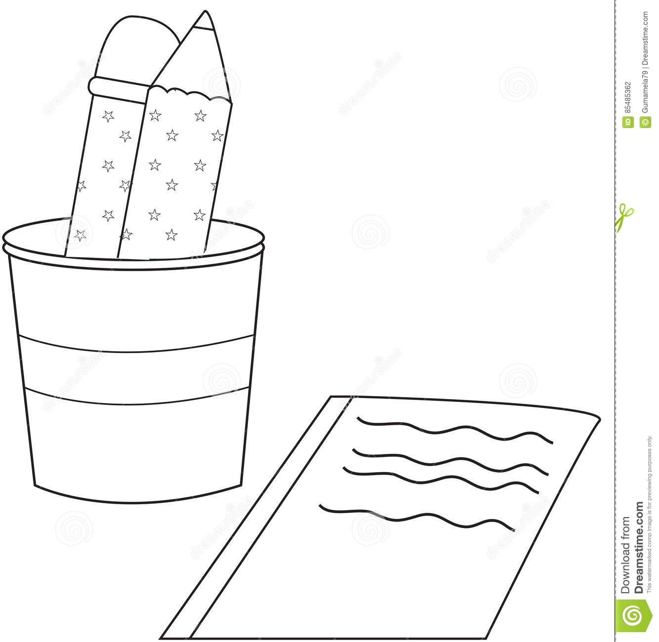 pencil and paper black and white illustration stock illustration