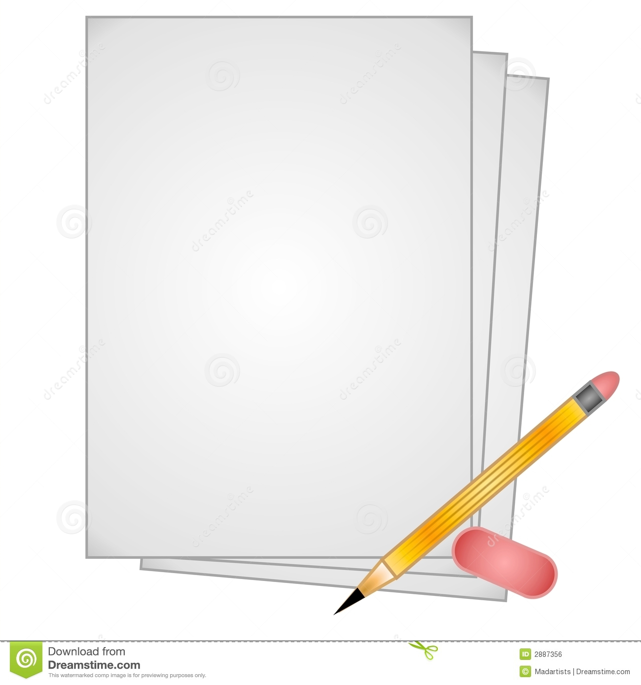 Pencil Paper Eraser Clip Art Royalty Free Stock Image - Image: 2887356