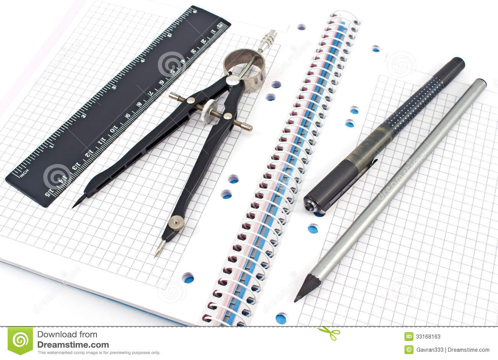pencil  pen  drawing compass  ruler on notebook stock photos