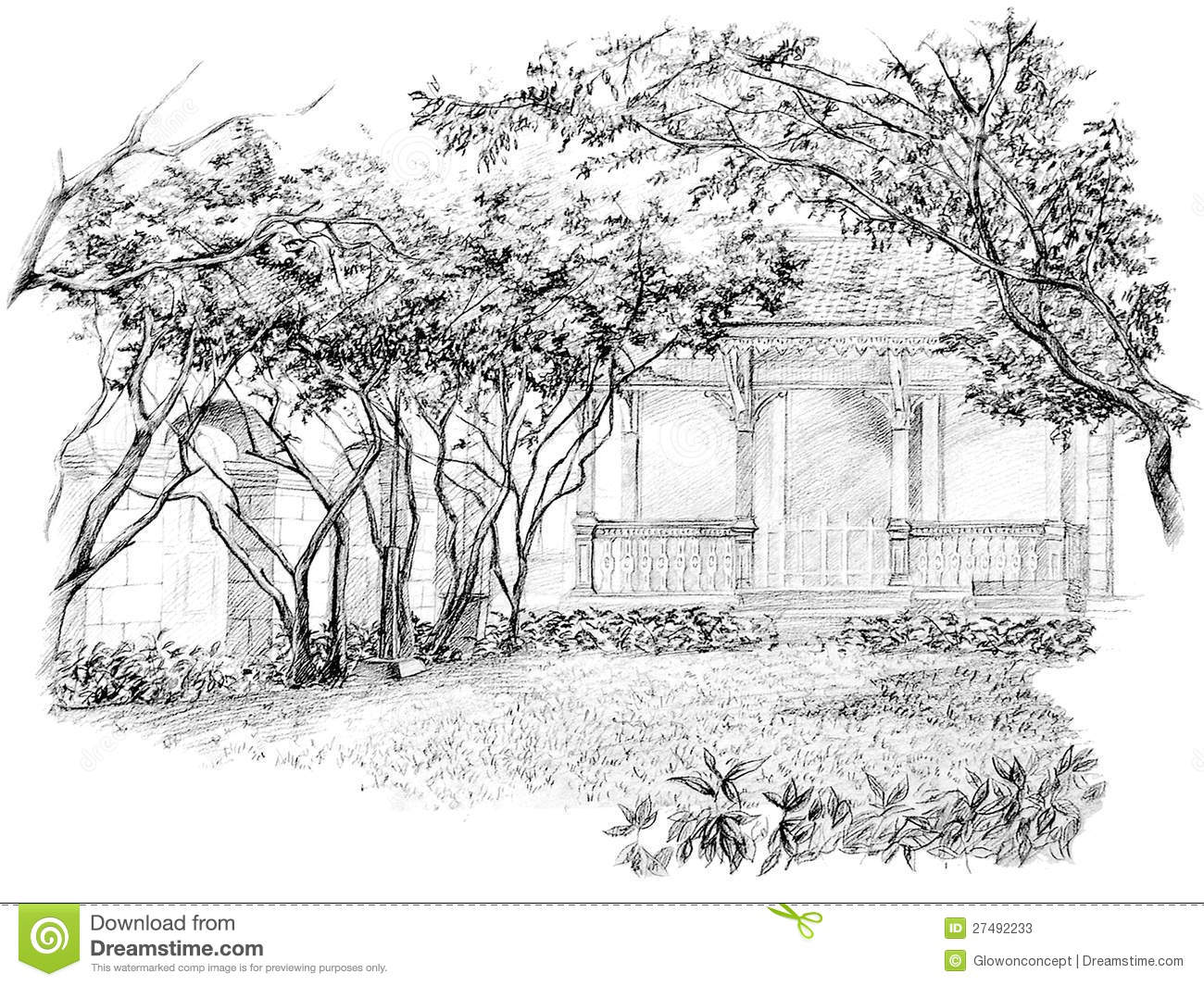 Garden drawing pictures - Pencil Perspective Drawing Of Garden Stock Photos