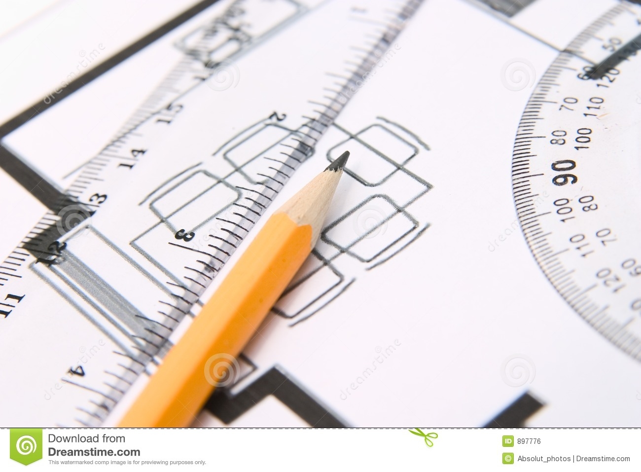 Pencil and a protractor