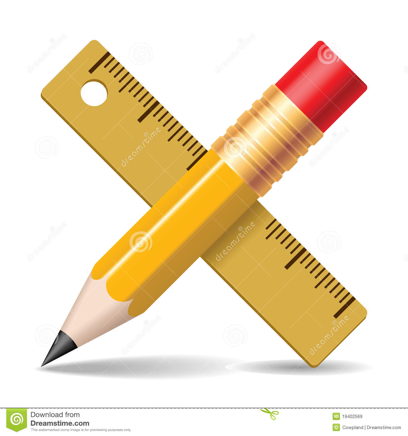 Pencil, Ruler. Royalty Free Stock Images - Image: 19402569