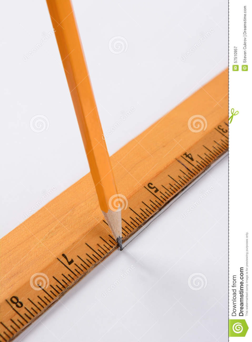 Drawing Lines With A Ruler : Pencil and ruler stock photo image