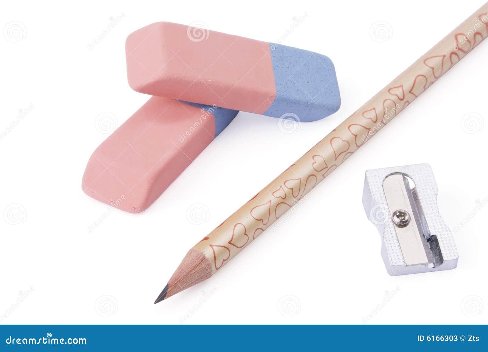 pencil sharpener and eraser stock image image 6166303. Black Bedroom Furniture Sets. Home Design Ideas