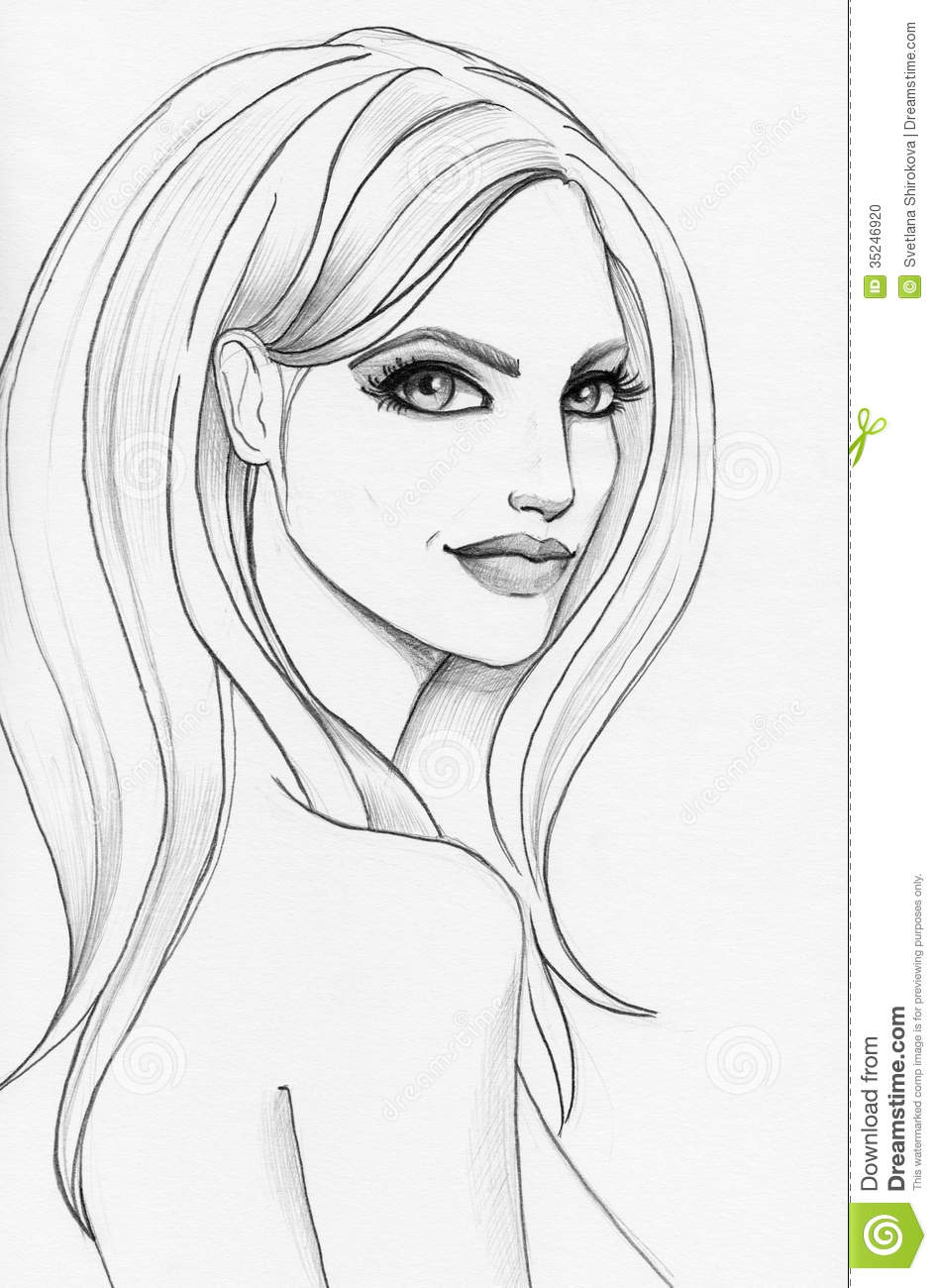 Pencil sketch of a beautiful girl download preview