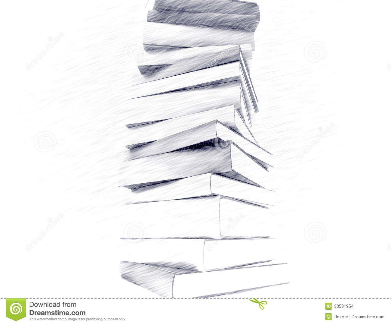 Pencil sketch of books