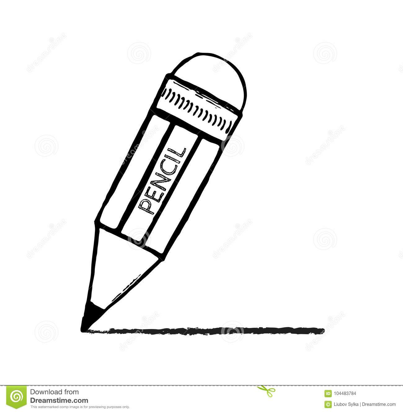 Pencil sketch cartoon vector illustration hand drawn pencil with a