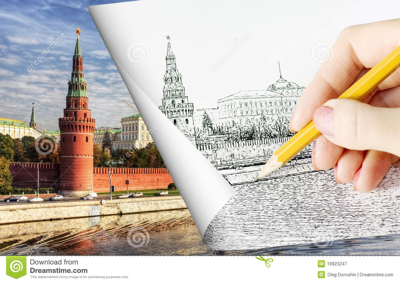Pencil Sketch Depicting Moscow Royalty Free Stock