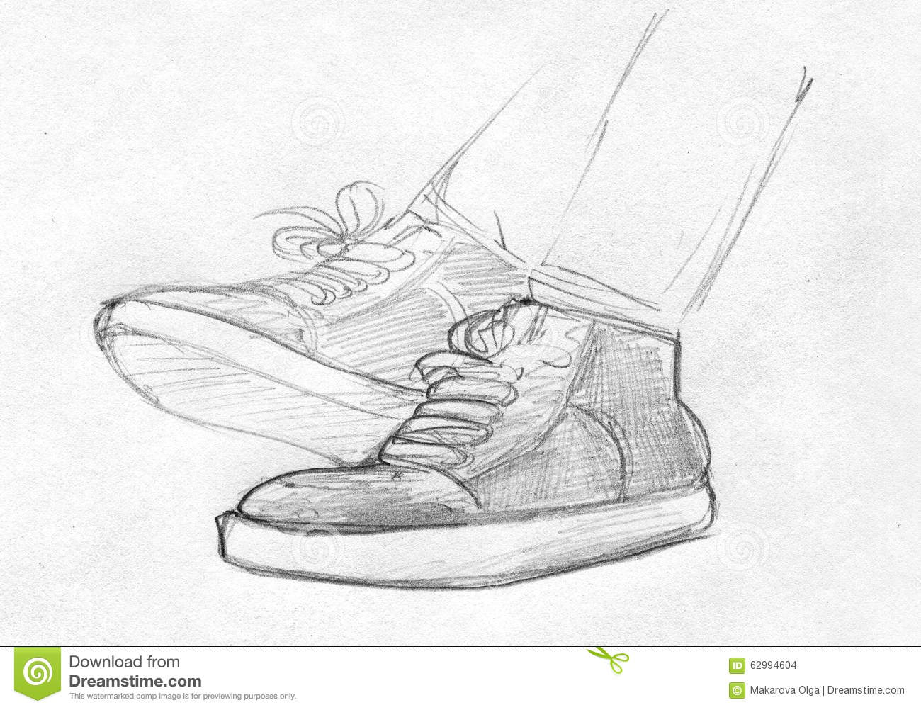 Pencil sketch of feet in gym shoes