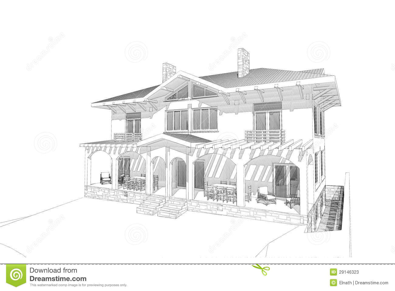 Pencil Sketch House Stock Photos Image 29146323