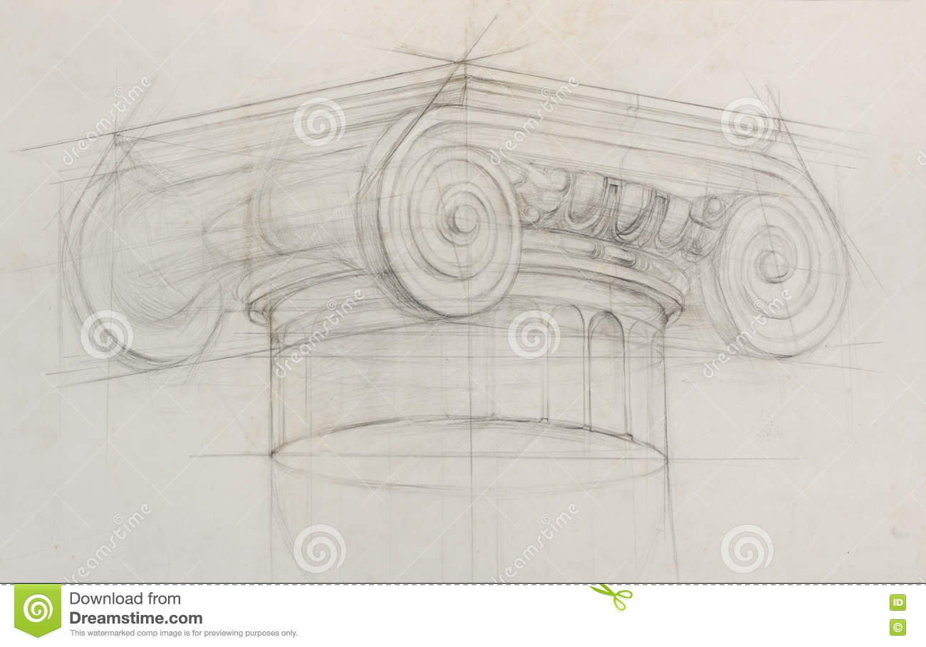 Classic style academic drawing pencil sketch of ionic capital column