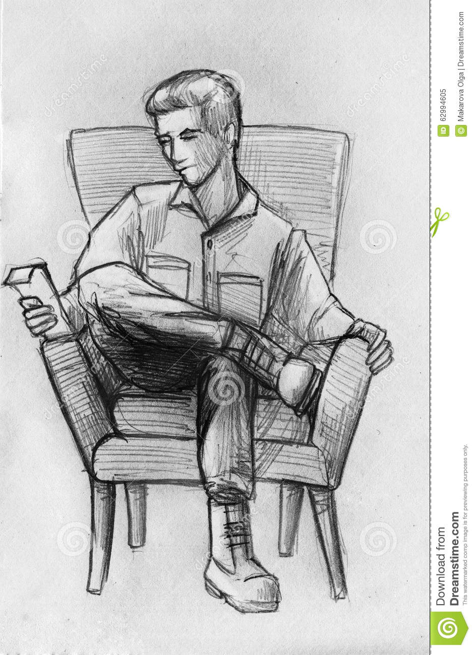 Pencil sketch of a man in armchair