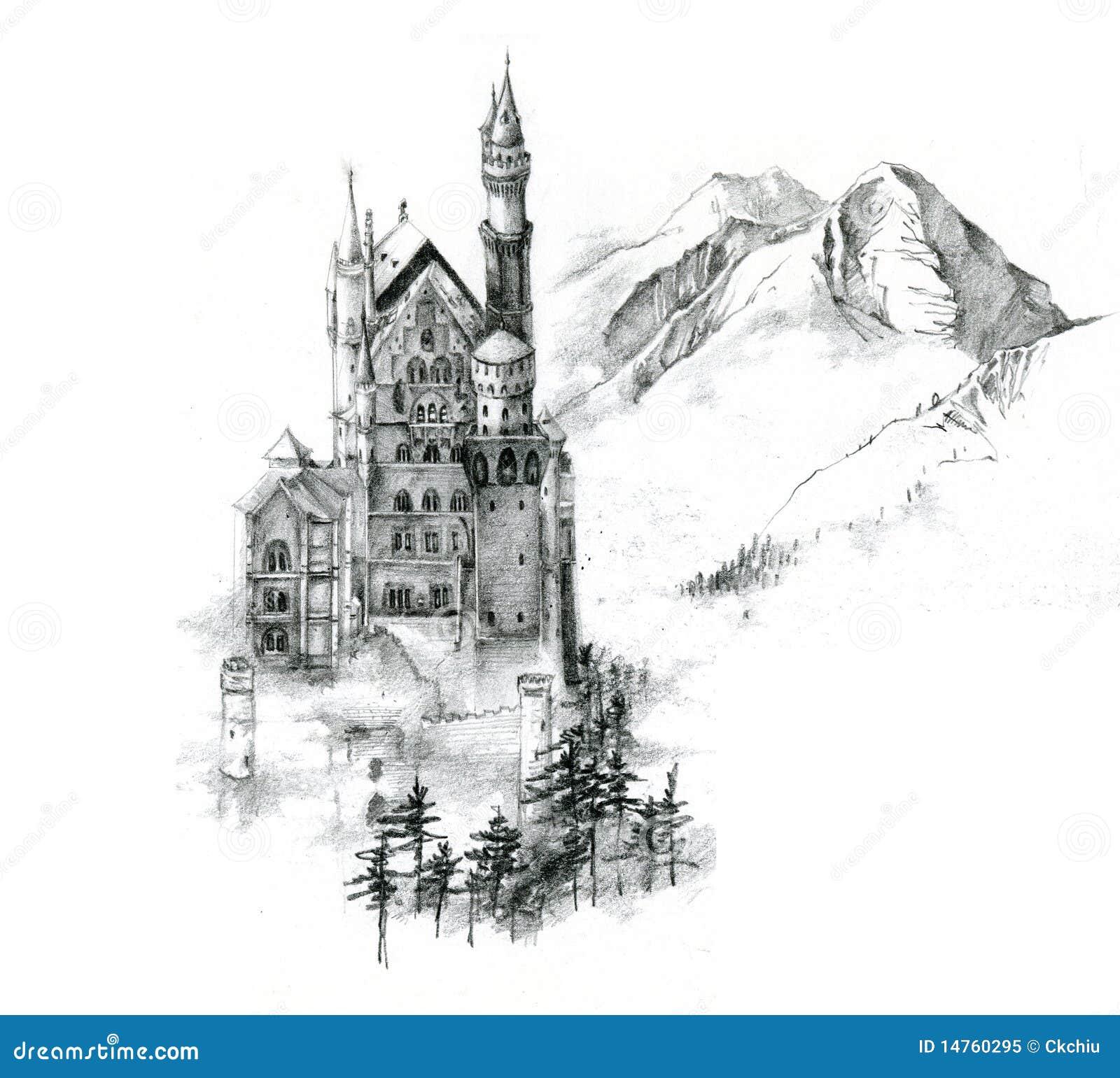 Pencil sketch of neuschwanstein