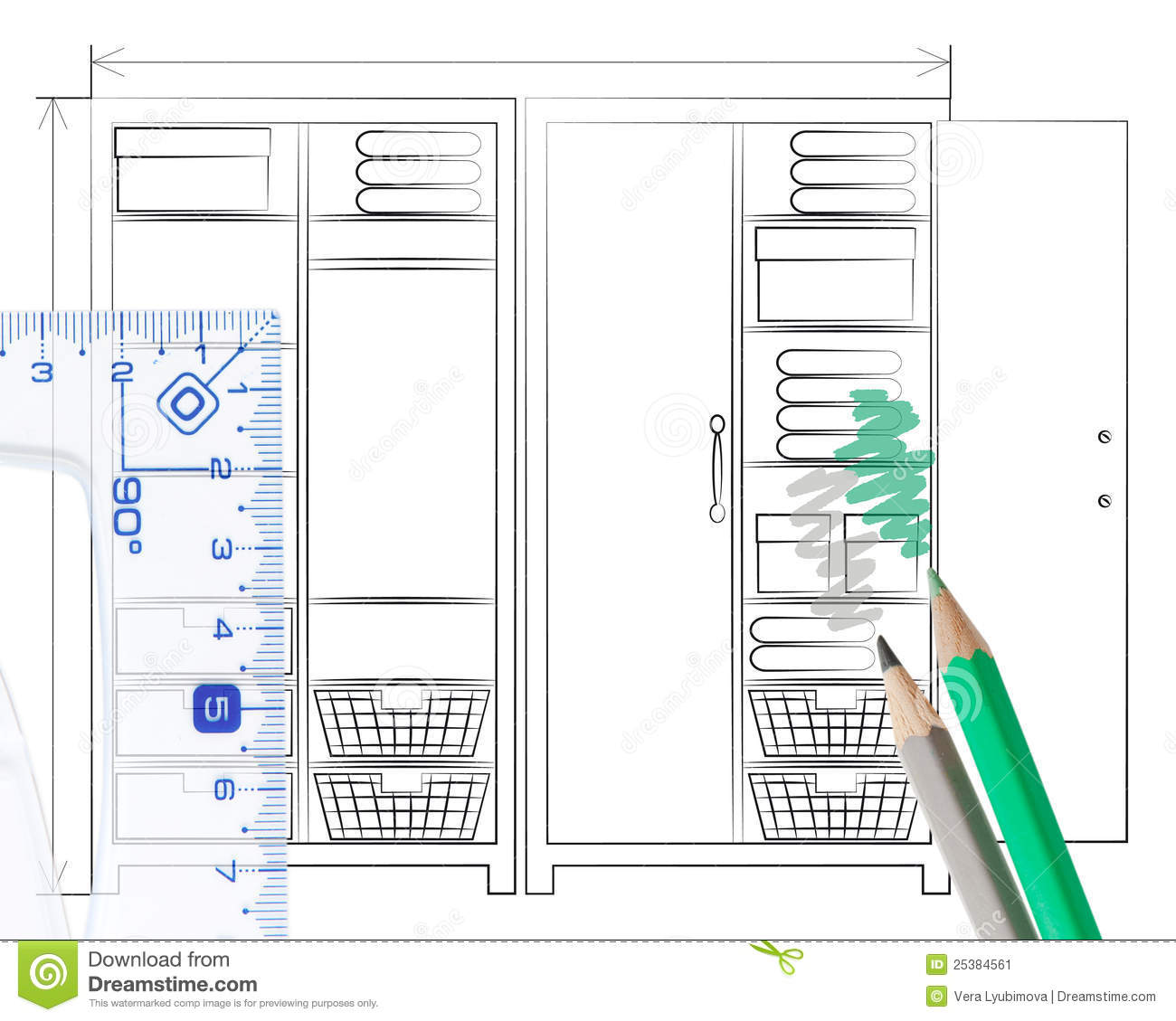 Pencil Sketch Of An Open Wardrobe Stock Illustration Image 25384561
