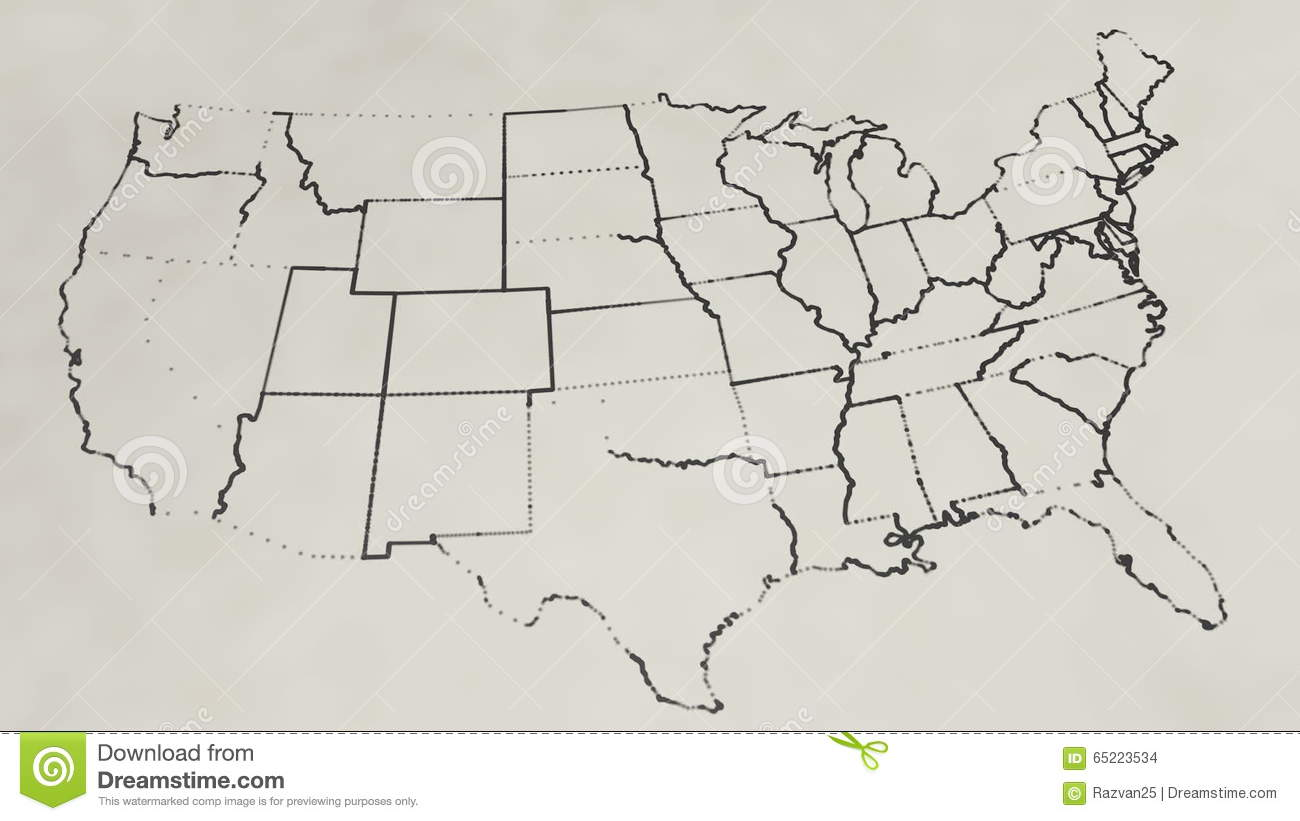 Pencil Sketch Of The United States Map Animation Stock Footage - Sketch drawing us with states map