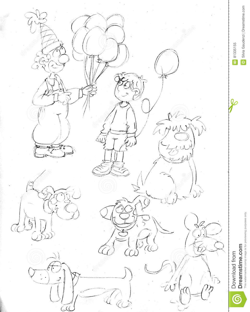 Pencil Sketches Clown With Balloons Dogs And Rat Stock Illustration