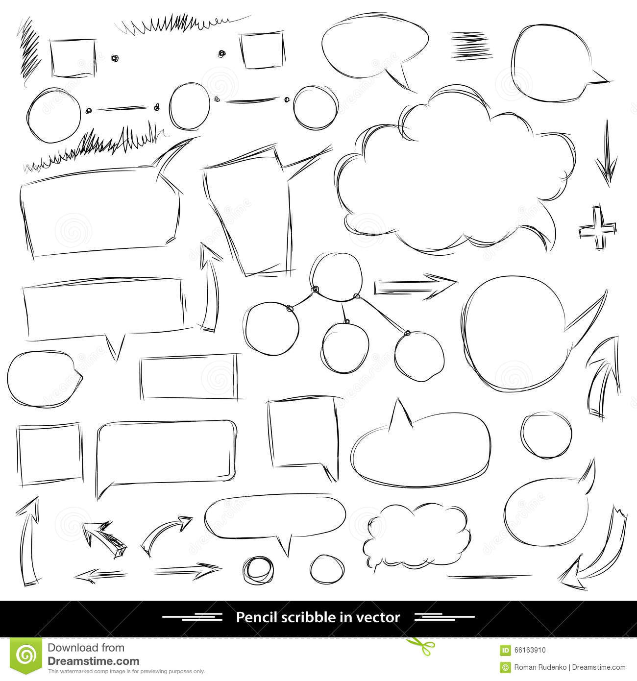 Line Drawing Shapes : Pencil sketches hand drawn scribble shapes a set of