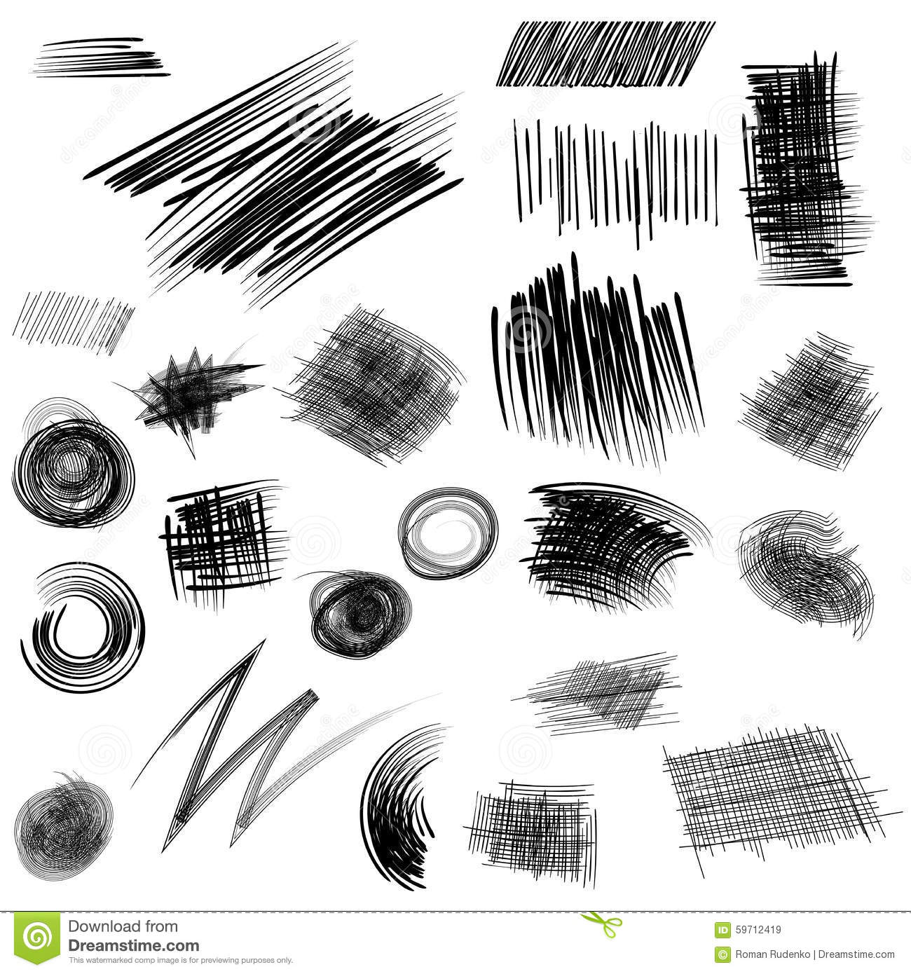 Pencil Sketches Hand Drawn Scribble Shapes A Set Of
