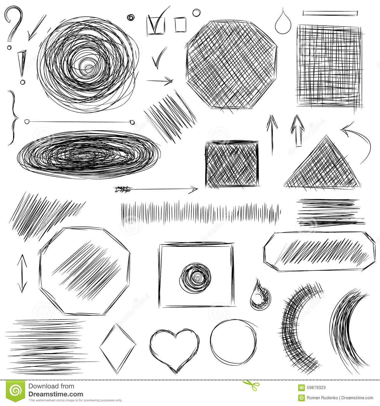 Drawing Lines Between Html Elements : Pencil sketches hand drawn scribble shapes a set of