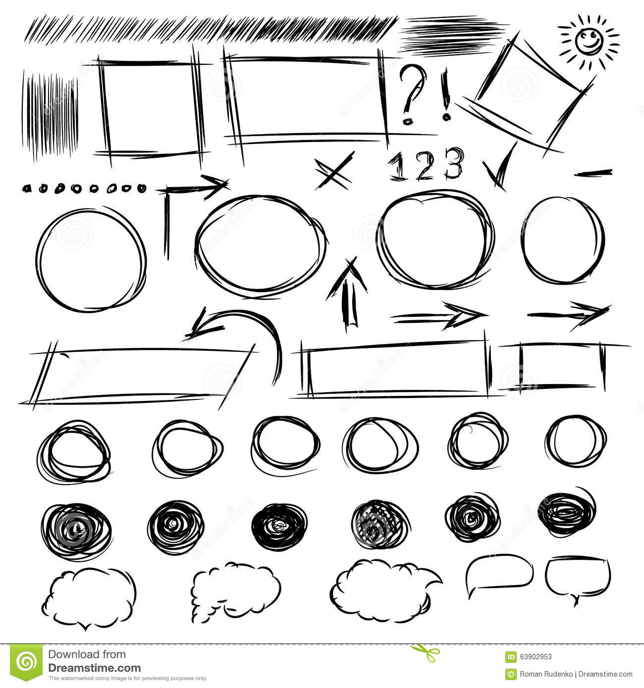 Drawing Lines Between Html Elements : Pencil sketches a set of doodle line drawings vector