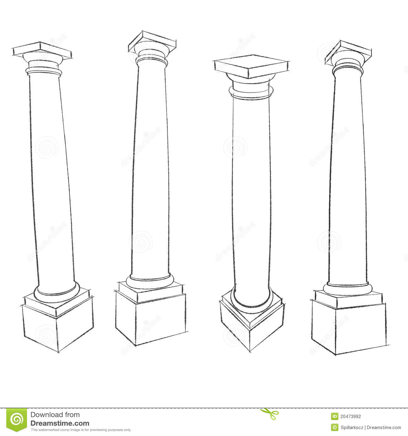Pencil Sketches Of Roman Tuscan Column Stock Photography - Image ...