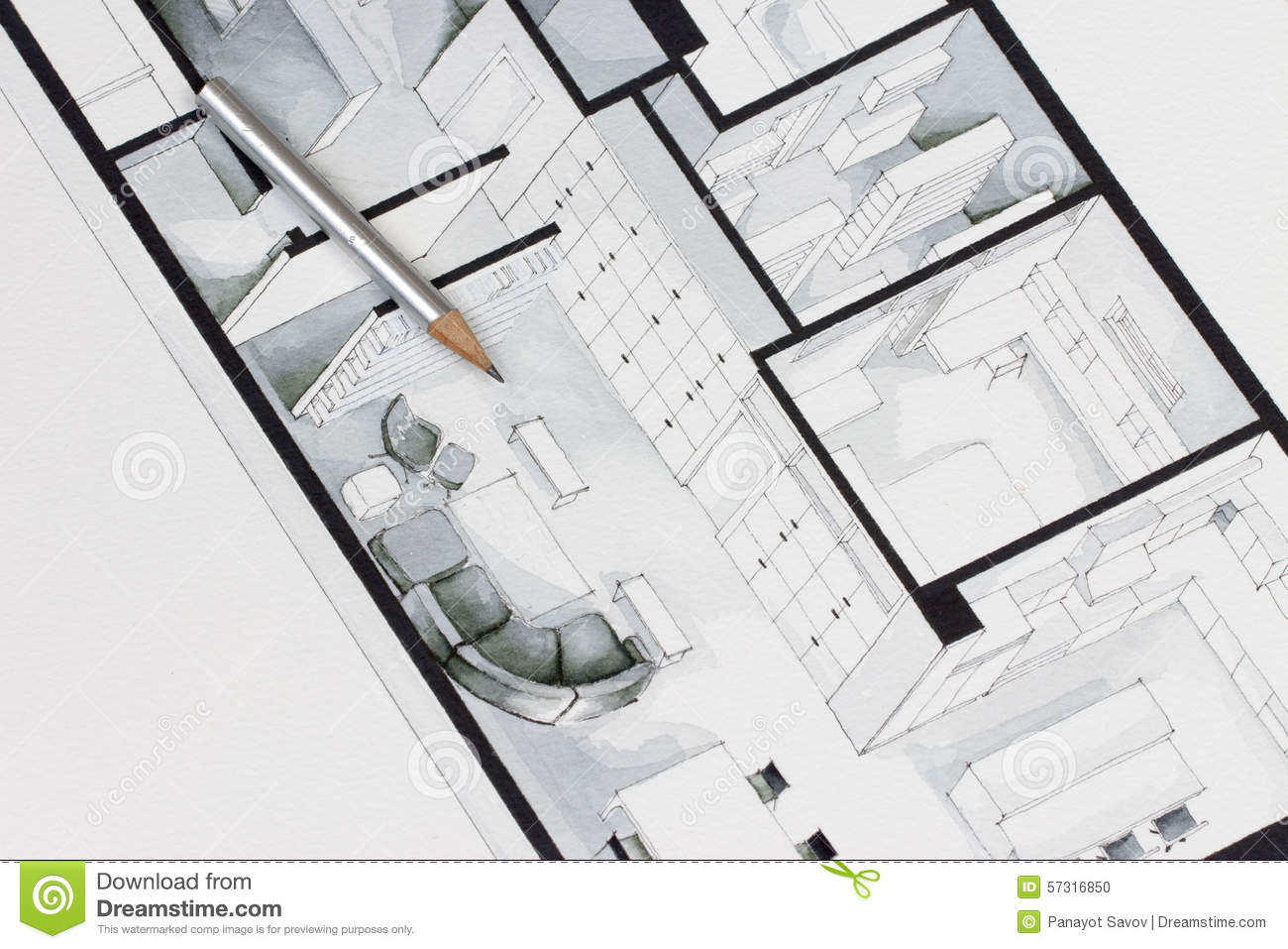Architecture Drawing Lessons architectural drawing of apartment stock illustration - image
