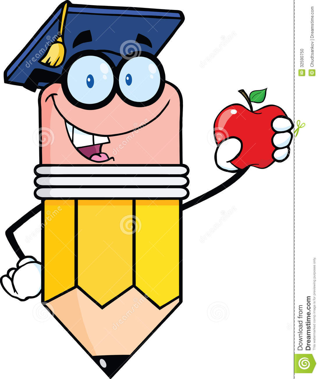 Pencil Teacher With Graduate Hat Holding A Red Apple Stock ...