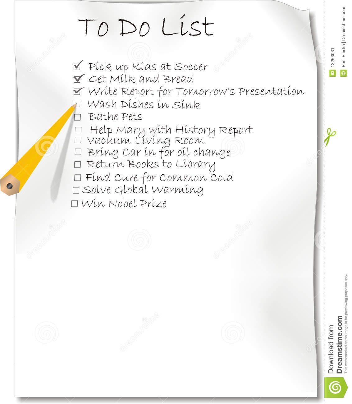 Pencil Writing A To Do List Stock Image - Image: 13253031