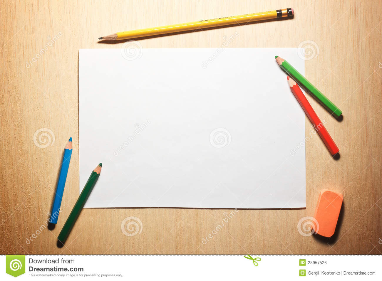 Pencils And Blank Paper On Wooden Table Royalty Free Stock Image ...