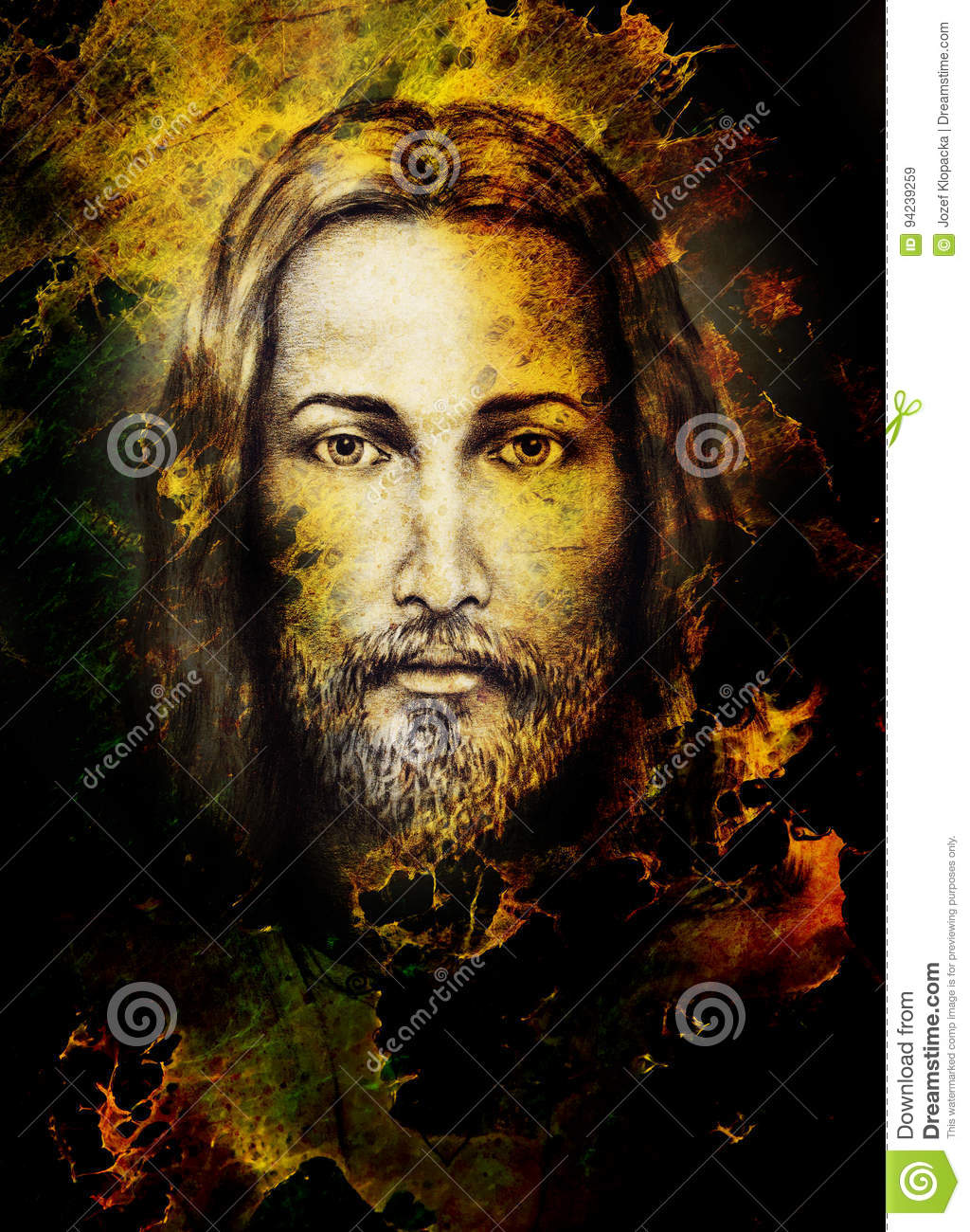 Pencils Drawing Of Jesus On Vintage Paper And Color Structure. Eye ...