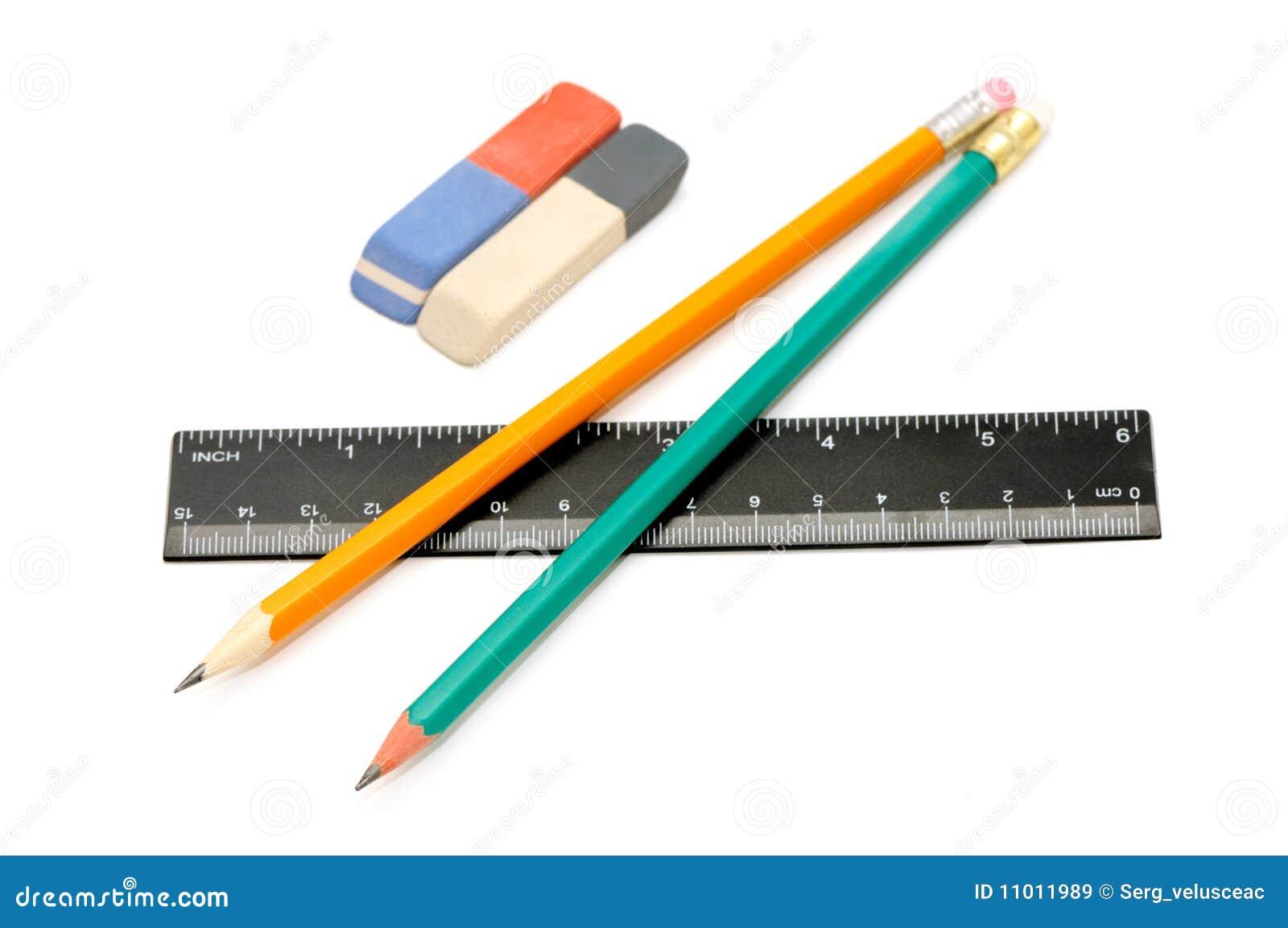 Pencils, eraser and ruler